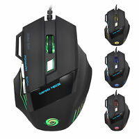 Computer Gaming Mouse DPI 7 Button USB LED Light Optical Wired Mice