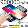900000mAh Qi Wireless Power Bank Fast Charging Battery Pack Portable Charger