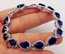 18K White Gold Filled-7*10MM Navy Blue Waterdrop Topaz Bride Cuff Bracelet 7.7''