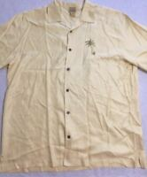 Jos A Bank Hawaiian Mens XL Yellow Shirt Sleeve Shirt Palm Tree 100% Silk