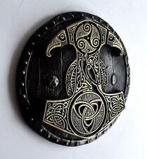 Viking Norse Mjolnir Thor Hammer Shield Brass Iron Wall Mount Sculpture Art Gift