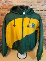 Vintage Green Bay Packers NFL Full Zip Hooded Puffer Jacket Mens XL Chalk Line