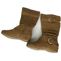 Womens Mid Calf Boots Size 8.5 M Brown Faux Suede Size Zip Buckle Accent
