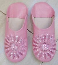 MOROCCAN PINK LEATHER SEQUINED SLIPPERS size 4/37