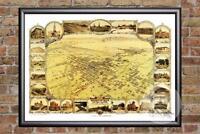 Vintage Bakersfield, CA Map 1901 - Historic California Art Victorian Industrial