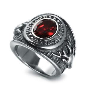 Retro Red Gem Buck Doe Deer Ring Stainless Steel Men's Cool Signet Rings Biker