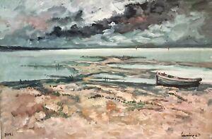 Tableau huile sur toile Marine Plage Normandie Signé Robert L.P Lavoine XXe