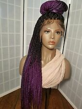 Front LACE Ombre braided wig w/ bleached knots 26' blk /purple (or any color)
