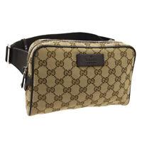 GUCCI GG Pattern Waist Body Bum Bag Purse Brown Canvas Leather Authentic AK44265