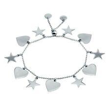 Plata esterlina 925 rodio plateado Pulsera Corazón y estrella colgantes-DIB00073RH