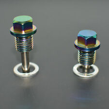 NEO CHROME ANODIZED MAGNETIC ENGINE OIL PAN DRAIN PLUG/BOLT w/ WASHER M14x1.5