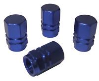 4 x Quality Blue Metal Hexagonal Tyre Valve Dust Caps for Cars Bikes Vans