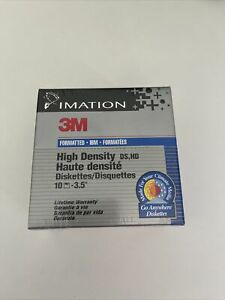 """New 10x Imation 3M Floppy Disk DS-HD 1.44MB 3.5"""" IBM Diskettes Sealed"""
