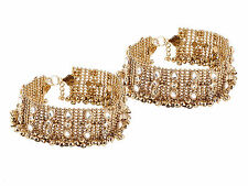 2pcs BROAD ANKLET PAYAL GOLD OXIDIZE KUNDAN  BOLLYWOOD NECKLACE BRIDAL PARTY-EID
