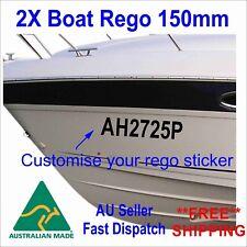 Boat Rego Sticker Personalized registration Number 150mm High Cast Vinyl 2Pcs
