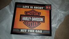 """HARLEY DAVIDSON New LED Light Up Sign """"LIFE IS SHORT, HIT THE GAS"""" by Hallmark"""