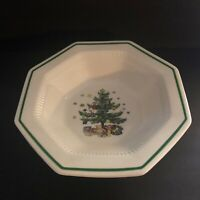 "Nikko Christmastime Octagon Vegetable Serving Bowl 9"" Across Christmas Tree"
