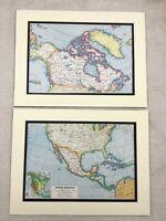 1920 Antik Aufdrücke Karte von Nordamerika Vereinigte Staaten Kanada West Indies