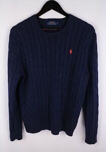 Polo Ralph Lauren Men Jumper Casual Cable Knit Cotton Crew Neck Navy Blue size M
