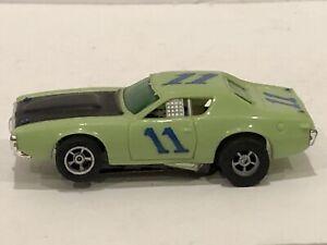 AFX AURORA HTF #11 LIME GREEN Blue Numbers DODGE CHARGER HO SLOT CAR Tested