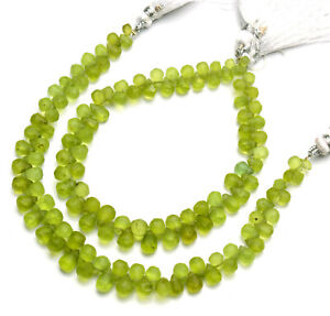 """Natural Gem Olive Green Rough Peridot 6x4 to 7x5mm Unpolished Drop Beads 7.5"""""""
