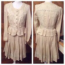 BADOD Ivory Linen Shimmer Full Skirt SUIT Jacket Blazer Embellished LACE 6 8