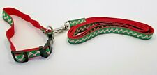 "Christmas Dog Collar and Leash - Candy Cane Bone Pattern New Appr 14"" to 21"""
