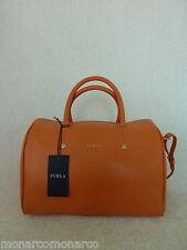 NWT FURLA Carrot Orange Saffiano Leather L Alissa Satchel/Crossbody Bag - $298