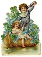 Vintage Victorian die cut paper scrap, funny boating with flowers, from c. 1880