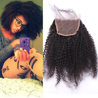 """Mongolian Afro Kinky Curly Human Hair 4x4"""" Lace Closure Free Middle 3 Part Way"""