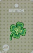 BEUTRON Iron On Motif Applique Patch Green 4 Leaf Clover BM6339 9312919042714
