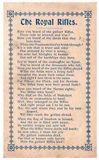 Postcard WW1 The Royal Rifles Poem Patriotic Card Very Scarce 13a