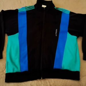 rare vintage Adidas track jacket men's M Made in France multi color top