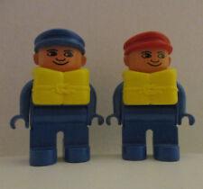 2 Lego Duplo 4555 Figure Sailor Boat Life Jacket Vtg One Red Hat One Blue Hat