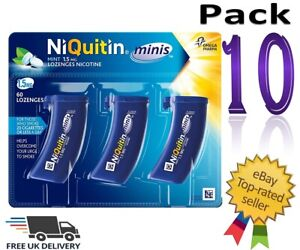 NiQuitin Minis Mint 1.5mg of 60 Lozenges Pack 10 Expiry 10/2022