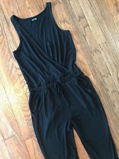Aerie Black Sleeveless Sweater Thin Knit Wrap Sweats Catsuit Jumpsuit Romper S