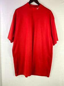 NIKE GOLF Size XXL Mes Red Dri Fit Athletic Tee T-Shirt Turtle Neck Short Sleeve
