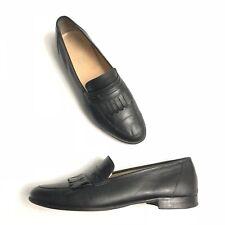 Salvatore Ferragamo Black Leather Loafer Dress Shoes Fringe Men's 10.5