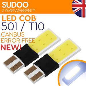 2x 501 w5w Led Bulb White T10 Xenon Canbus Error Free Side light Wedge Cob 12v