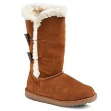 MOSSIMO KALLIMA SHOES / CHESTNUT FAUX FUR SHEARLING LEATHER LONG BOOTS / WOMENS