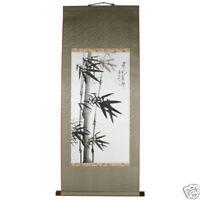 Tenture Poster Peinture à la Main Rouleau Encre de Chine Bambou Art Floral Asie