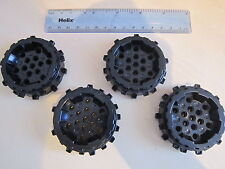 Lego 4 x Technic Black Caterpillar Track Wheel Hard Plastic with Small Cleats