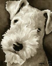 Lakeland Terrier Art Print Sepia Watercolor Painting 11 x 14 by Artist DJR
