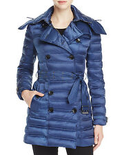 NWT Burberry Women CHESTERFORD MID LENGTH DOWN PUFFER COAT Bright Navy M