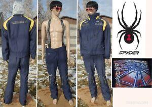 vtg 90's SPYDER ski suit zip jacket bib pant insulated waterproof XT hood mens L