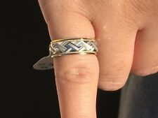 14 K White And Yellow Gold Florentine Wide Wedding Ring