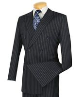 2020 Men's Navy Blue Pinstripe Double Breasted 6 Button Classic Fit Suit NEW
