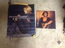 2 Whitney Houston Cd Promo Poster & poster flat music Bobby brown!.