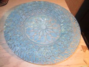 Vtg 8.5-inch Blue and Clear Art Glass Plate- Serving dish