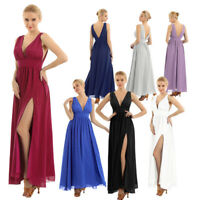 Women's Elegant Deep V Chiffon Bridesmaid Evening Gown Prom Party Cocktail Dress